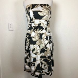 The Limited tan black floral strapless dress 4